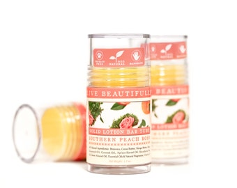 Southern Peach Rose Lotion Bar - Earthy Floral and Sweet Peach - All Natural Lotion Bar Tube