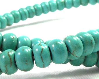 Magnesite Stone Rondelle Beads, Turquoise Blue, Brown Matrix Lines, Full Strand, Blue Green Beads, Crafting Supply for Jewelry Making