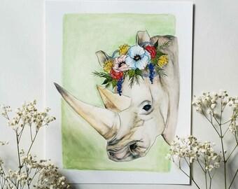 Gentle Rhino - Animal Floral Crown Watercolor Print - 8x10