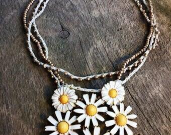Daisy Field Crochet Necklace