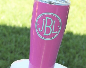 Monogrammed 30 oz. Insulated Cup - Many Colors. Bridesmaid Gift, Birthday Present. Large Tumbler Mug with Vinyl Monogram.