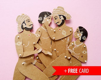 Kama Sutra full set articulated paper dolls puppets unique unusual gift valentines present boyfriend gift sex positions mature sexual erotic