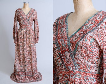 70s Indian Cotton Block Print Bohemian Dashiki Kaiser Dress Festival Maxi