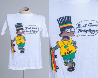 90s Bart Simpson Gone Funky Reggae Rasta Man Cant Touch This T Shirt