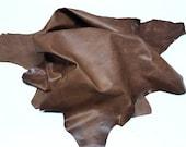 Italian Calf calfskin leather 3 skins hides BROWN DISTRESSED total 23sqf