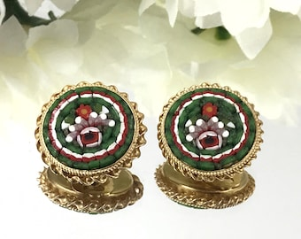 Green Micro Mosaic Vintage Earrings, Pink Roses surrounded in green glass art pieces, Italian art, Italian earrings, Italian Jewelry.