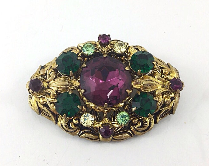 Vintage Filigree Purple West Germany Brooch with Rhinestone, purple rhinestone brooch with green rhinestones. Emerald Peridot Amethyst glass