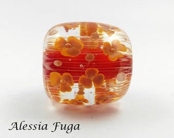 Handmade focal lampwork glass bead in red and coral with flowers