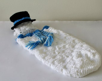 Crochet Baby Cocoon - Snowman Cocoon - Baby Christmas Photo Prop, Baby Swaddle Sack, Sleepsack