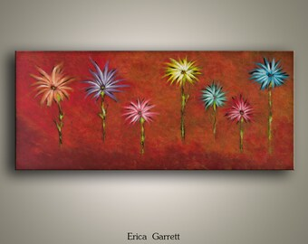 Original Painting on Canvas - Abstract Acrylic Wide Painting - Red Home Decor - Teal Yellow Pink Purple Flowers- 12x24 Wall Art