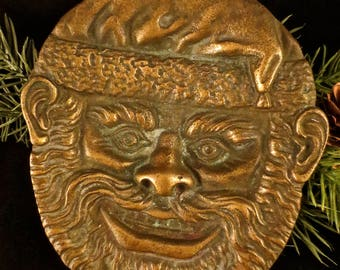 Heavy Brass Footed Tray Featuring the Visage of Santa Claus