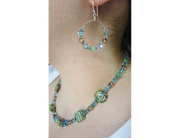 Green Lampwork, Swarovski Crystals, and Bali Beads Necklace and Earrings Set