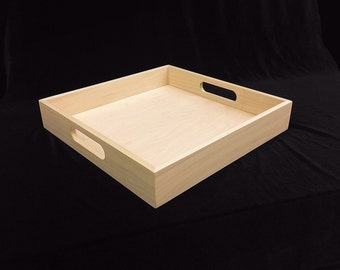 Unfinished  Wooden Serving Tray - 13 x 13 x2 1/4-unfinished wood box-ready to finish-engravable wood tray-personalized laser engraving
