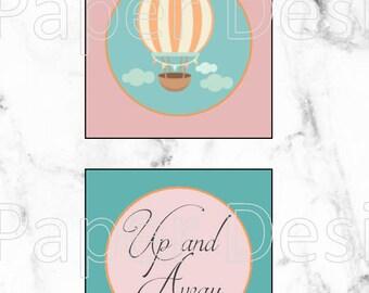 Up and Away. Hot Air Balloon Cupcake Toppers. Digital Print. Hot Air Balloon Tags. Vintage Baby Shower. Hot Air Balloon Decorations