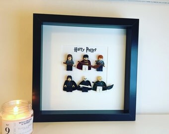 Harry Potter Lego Minifigure Frame.  Hermoine Granger, Ron Weasley, severus Snape, Voldemort, Draco Malfoy