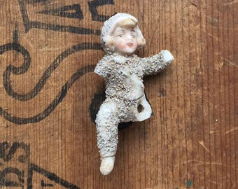 1 Damaged, Antique German Bisque, Snow Baby, Doll Parts, broken frozen charlotte doll