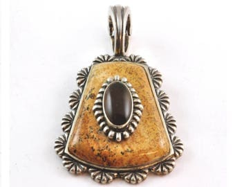 Vintage Sterling Pendant with Jasper and Tigers Eye - Carolyn Pollack Relios - Southwestern Jewelry Enhancer