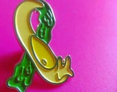 Slug Life Pin, Banana Slug, Slime Trail, Awareness Pin, Lazy Forever, Science Gift, Snail Art, Soft Enamel, Cute Slug Pin, Awareness Ribbon