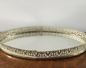 Hollywood Regency Filigree Vanity Tray Mirror ~ Vintage Gold Mirror