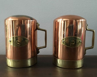 Copper and Brass Salt Pepper Shakers / Handle Can Shakers Made in Portugal / French Country Kitchen