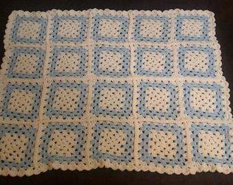 Blue & White Granny Squares Baby Blanket