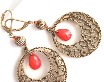 Orange Statement Earrings, Boho Earrings, Orange and Gold Earrings, Gold Circle Earrings