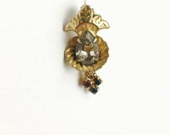 Vintage Rhinestone Brooch, Antique Gold Tone, Art Nouveau, Victorian Design, Clearance Sale, Item No. B387