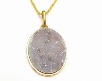 Bohemian Stone Pendant, Druzy, Sugar Gem, Gold Tone, Vintage Accessory, HALF OFF SALE, Item No. B587