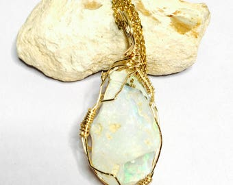 Large Ethiopian opal pendant, gold plated wire, hand made, Clearance Sale, item no. S250