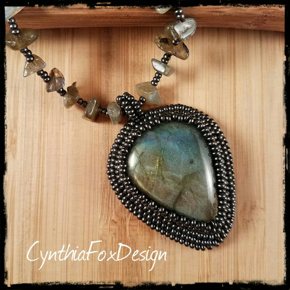 Labradorite Necklace, Large Labradorite Pendant, Long Beaded Necklace, Foxxy Jewelry from CynthiaFoxDesign