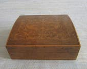 Vintage small wooden hinged TRINKET BOX with floral design on lid