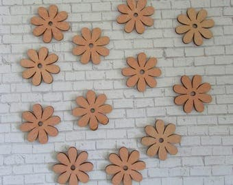 Wooden Craft Cut Outs  Unfinished Shapes for Crafting 12 Pieces Wooden Flower Daisy