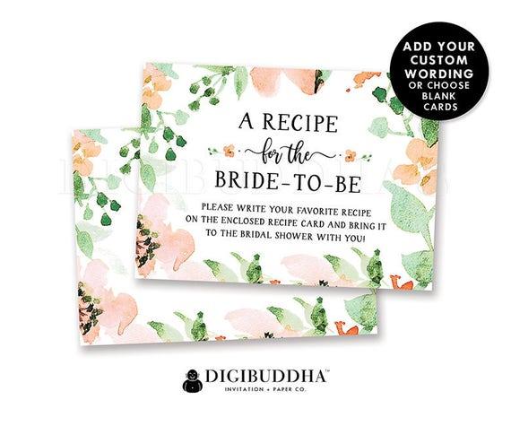 Wedding Shower Invitation Sayings: Floral Bridal Shower Recipe Insert Card Custom Invitation
