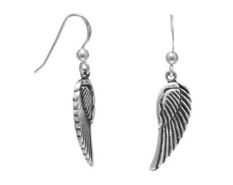 SALE-Sterling Silver Oxidized ANGEL WINGS with French Wire Dangle Earrings