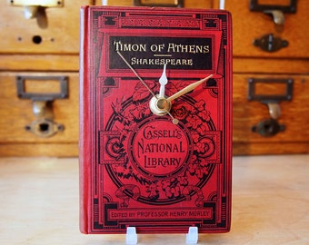 Shakespeare Victorian book clock. Made with an original edition of Timon of Athens from 1888. Red, black & gold.