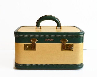 vintage tweed train makeup case with key 1950s luggage yellow green