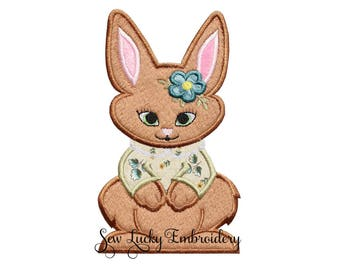 Vintage Spring Bunny Appliqued Embroidered Patch, Sew or Iron on