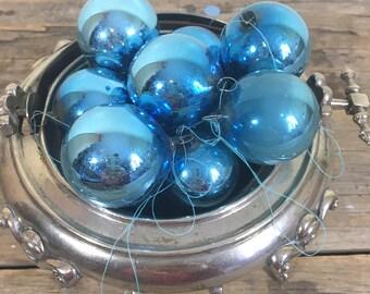 Christmas Ornaments Blue Mercury Glass bulbs, balls