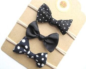 Polka Dot Headbands, Black Headband, Infant Hairband, Toddler Hairbands, Baby Hairbands, Baby Headbands, Toddler Clip Bow, Ready To Ship