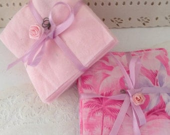 "Pre-cut Squares - Flannel - 4"" - Charm Pack - 83 squares - baby quilt kit - Pink, lavender & Hawaiian print squares - baby shower"