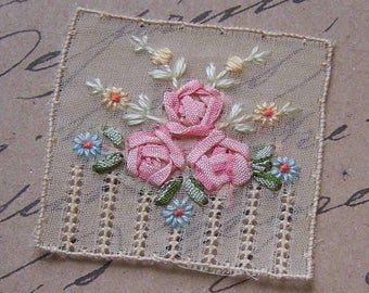 Vintage FRENCH Silk Ribbon Applique - Floral Spray/Bouquet!