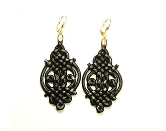 Leather earrings, braided with gold tone hooks
