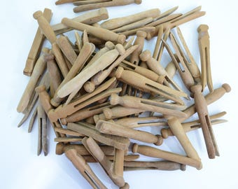 60 Mid Century Two Prong Wooden Clothespins