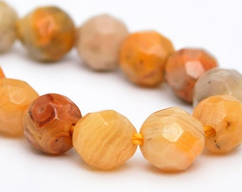 "4MM Faceted Orange Crazy Lace Agate Natural Gemstone Half Strand Round Loose Beads 7.5"" BULK LOT 1,3,5,10 and 50 (100869h-325)"