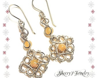 14kt Gold flower Gemstone Drop Earrings, yellow gold earrings, Gold Agate flower earrings, Handmade 14kt gold wiresculpted earrings