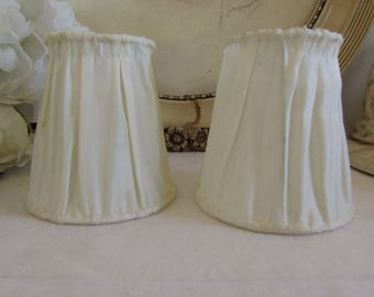 Vintage French pair of lovely white clip on lampshades.