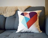 """SALE: organic cotton / upcycled geometric heart patchwork pillow cover - colorful - 18"""""""
