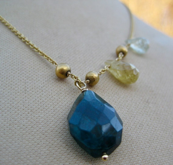 INDRANI  Blue-Green Tourmaline Penant on 18k Gold Chain with Tourmaline Accents