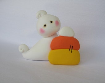 Polymer Clay Ghost and Candy Corn