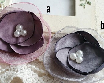 60 mm Satin Rose Flower/ Hair accessories / Brooch/Hair comb finding (t.h)